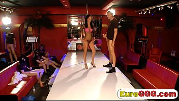 Dick hungry European babe gets satisfied on by three guys 7 min