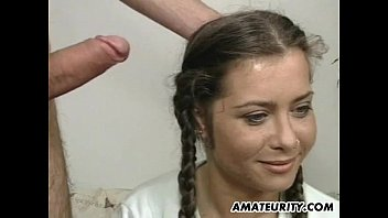 Amateur girlfriend cum in mouth with a mask on ...