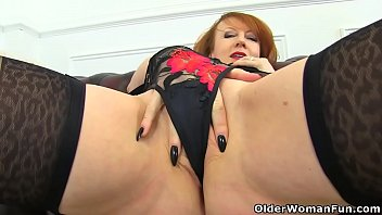 Hot older redheads English milf red probes her fanny with two fingers