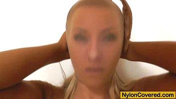 Blonde plus nylon mask on her face