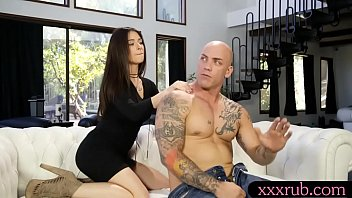 Nasty babe gives man a relaxing backrub before fucking