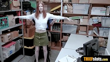 Cute redhead teen shoplifter got caught and punished