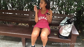 Upskirt no slip Smoking teen public upskirt no panties