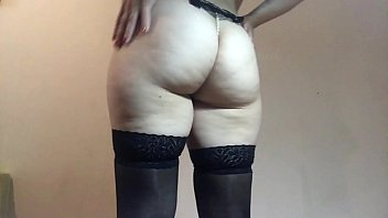 Ass teasing in stockings and pearl G string