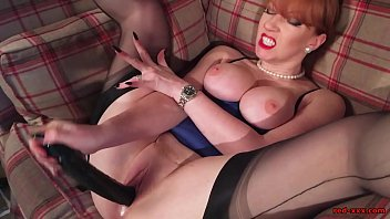 Big dildo red - Sultry mature redhead in lingerie fingers her cunt