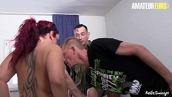 AMATEUR EURO - #Lea Luestern - BBW German Wife Threesome Party With Her Work Colleagues