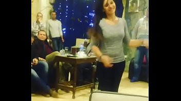 arab girl dancing with friends in Cafe