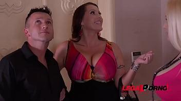 Busty lesbians Laura Orsolya & Angel Wicky make stud blow cum on their tits GP460