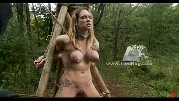 Sex slaves tied in forest fucked in rough deepthroat and sex