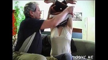Hot old and young sex with cute babe jerking off old guy