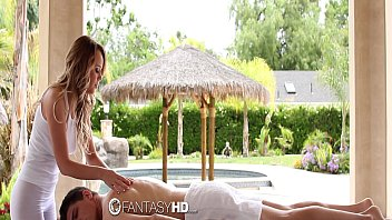 FantasyHD - Alexis Adams plays with huge cock during massage