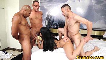 Latin bukkake tgirl with big ass groupfucked