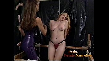 To spank erotically - Raunchy blonde slut with big tits gets whipped hard by a dominatrix