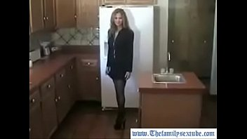 HotWifeRio in stockings taking off her clothes for her son before going to work