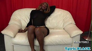 Nubian ts queen strokes her hard cock