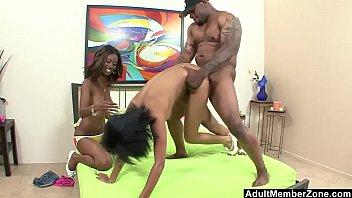 Adult man masturbating - Two ebony sluts picked off for a threesome