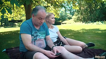 Petite teen fucked hard by grandpa on a picnic she blows and swallows him thumbnail