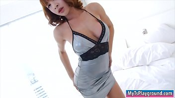 Big boobs asian ladyboy masturbates her cock until she cums