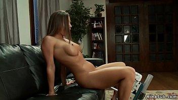 Hot ass busty babe machine banged