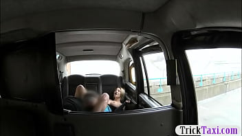 Big boobs woman sucks off and anal fucked in the taxi