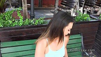 Phat ass white girl bangs outdoor for money