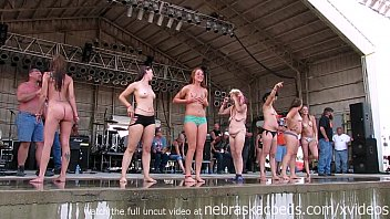 gorgeous biker chicks getting fully nude in iowa wet tshirt contest preview image