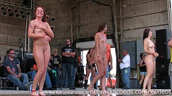 Naked chicks pissing - Gorgeous biker chicks getting fully nude in iowa wet tshirt contest