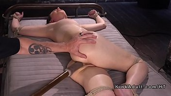 Bound slave got anal dildo fucked