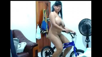 Riding nude sexy bicycle...
