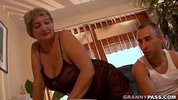 Busty Granny Seduces Young Guy With Her Big Tits thumbnail