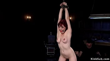 Redhead sub caned and pussy toyed
