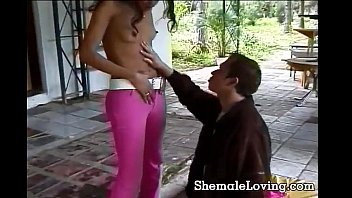 Shemale gets fucked in every position