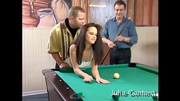 3-person fuck while playing billiards