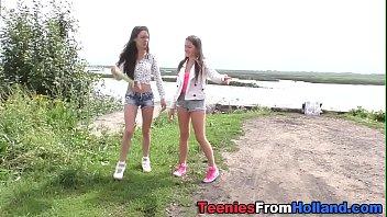 Dutch les eats teen pussy