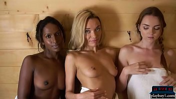 Two White And One Black Model Together In A Hot Sauna