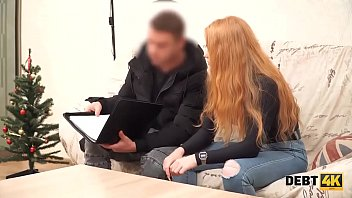 Debt4k. Cunning guy fucks shaved pussy of red-haired cutie Rose Wild for the debt