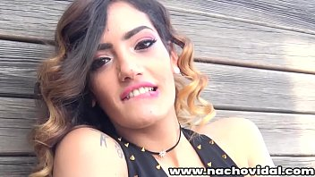 Outdoors on the balcony the Spanish beauty Penelope Cum with her fresh charm and natural tits encourages sex Nacho kisses her and Penelope gives her huge cock a blowjob