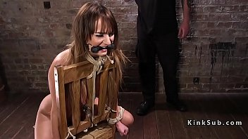 Tied cross sex - Bound slave fucked and made squirt