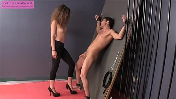 Cock and ball torture opus Teen ballbuster in leggings torments a captive
