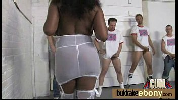 Chocolate babe gets several white big dicks 25
