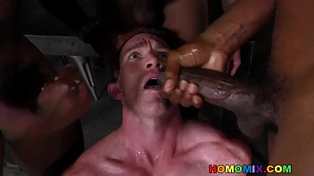 Old on old gay porn - Three ebony men sharing the mouth and tight ass of a white hunk