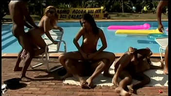 Brazilian wanton girls are happy to spread their legs for hard poles of friends of birthday celebrant during nasty pool party