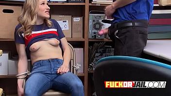 Sex getaways - Blonde criminal gets a huge dick inside in the guards office