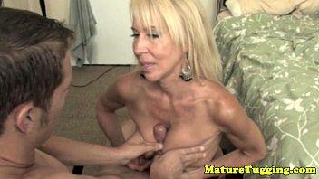 Handjob loving granny pampering dick 5 min