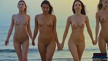 Four Lesbian Girlfriends Enjoy Each Other On The Beach