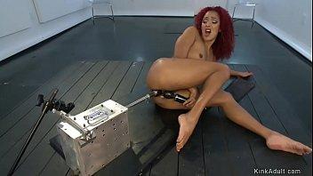 Curly redhead ebony fucking machine