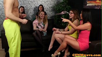 Gorgeous voyeurs jerk guys cock at henparty