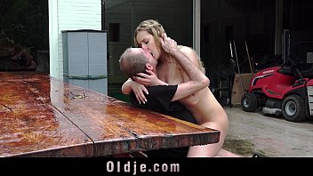 Image: Old man taste the pee of a young blonde, after fuck