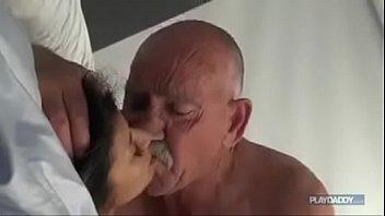 Man touches breast - Brunette fucks old man