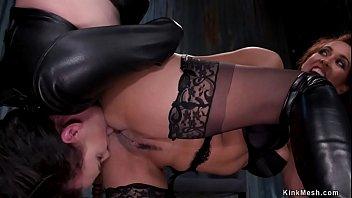 Lezdoms anal fuck slave in threesome